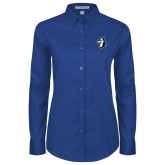 Ladies Royal Twill Button Down Long Sleeve-Blue Jays Mascot
