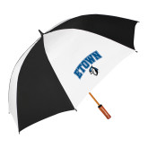62 Inch Black/White Umbrella-ETOWN with Mascot