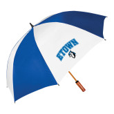 62 Inch Royal/White Umbrella-ETOWN with Mascot
