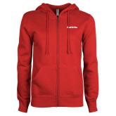 ENZA Ladies Red Fleece Full Zip Hoodie-Tag Line