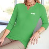 Ladies V Notch Fresh Green 3/4 Sleeve Shirt-Primary Mark