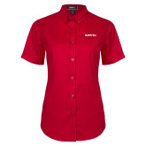 Ladies Red Twill Button Up Short Sleeve-Tag Line