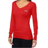 Ladies Fuse Red V Neck Sweater-Primary Mark