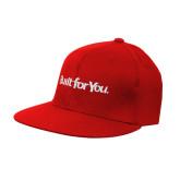 Red Flat Bill Snapback Hat-Tag Line