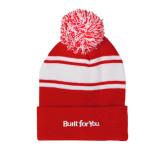 Red/White Two Tone Knit Pom Beanie w/Cuff-Tag Line