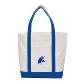 Contender White/Royal Canvas Tote-Viking Head