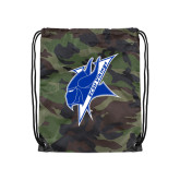 Camo Drawstring Backpack-Viking Head