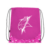 Nylon Pink Bubble Patterned Drawstring Backpack-Viking Head