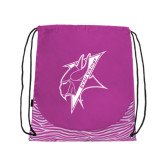 Nylon Zebra Pink/White Patterned Drawstring Backpack-Viking Head