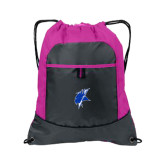 Nylon Pink Raspberry/Deep Smoke Pocket Drawstring Backpack-Viking Head