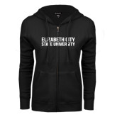 ENZA Ladies Black Fleece Full Zip Hoodie-Tagline