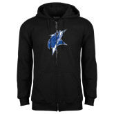 Black Fleece Full Zip Hoodie-Viking Head