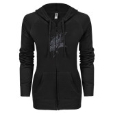 ENZA Ladies Black Light Weight Fleece Full Zip Hoodie-Viking Head Graphite Glitter