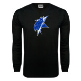 Black Long Sleeve TShirt-Viking Head Distressed