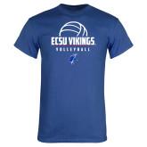 Royal T Shirt-ECSU Vikings Volleyball Stacked