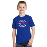 Youth Royal T Shirt-ECSU Vikings Basketball Arched w/ Ball