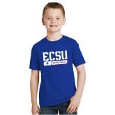 Youth Royal T Shirt-ECSU Basketball Stencil
