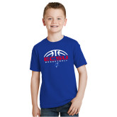 Youth Royal T Shirt-ECSU Basketball Half Ball