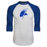 White/Royal Raglan Baseball T Shirt-Viking Head