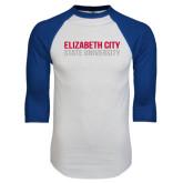 White/Royal Raglan Baseball T Shirt-Tagline