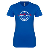 Next Level Ladies SoftStyle Junior Fitted Royal Tee-ECSU Vikings Basketball Arched w/ Ball