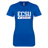 Next Level Ladies SoftStyle Junior Fitted Royal Tee-ECSU Basketball Stencil