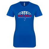 Next Level Ladies SoftStyle Junior Fitted Royal Tee-ECSU Basketball Half Ball
