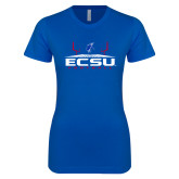 Next Level Ladies SoftStyle Junior Fitted Royal Tee-ECSU Football Field