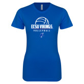 Next Level Ladies SoftStyle Junior Fitted Royal Tee-ECSU Vikings Volleyball Stacked