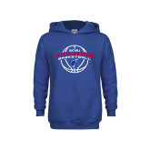 Youth Royal Fleece Hoodie-ECSU Vikings Basketball Arched w/ Ball