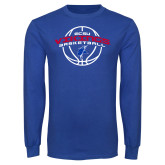 Royal Long Sleeve T Shirt-ECSU Vikings Basketball Arched w/ Ball