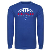 Royal Long Sleeve T Shirt-ECSU Basketball Half Ball