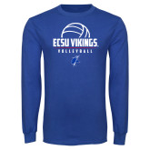 Royal Long Sleeve T Shirt-ECSU Vikings Volleyball Stacked