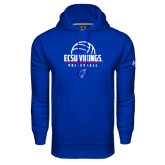 Under Armour Royal Performance Sweats Team Hoodie-ECSU Vikings Volleyball Stacked