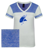 Ladies White/Heathered Deep Royal Juniors Varsity V Neck Tee-Viking Head