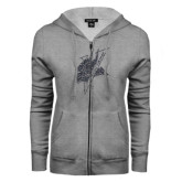 ENZA Ladies Grey Fleece Full Zip Hoodie-Viking Head Graphite Glitter