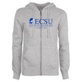 ENZA Ladies Grey Fleece Full Zip Hoodie-ECSU