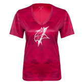 Ladies Pink Raspberry Camohex Performance Tee-Viking Head
