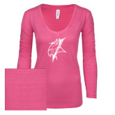 ENZA Ladies Hot Pink Long Sleeve V Neck Tee-Viking Head