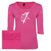 Ladies Dark Fuchsia Heather Tri Blend Lace 3/4 Sleeve Tee-Viking Head