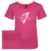 Ladies Dark Fuchsia Heather Tri-Blend Lace Tee-Viking Head