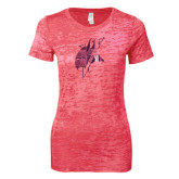 Next Level Ladies Junior Fit Fuchsia Burnout Tee-Viking Head Foil