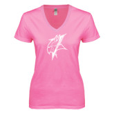 Next Level Ladies Junior Fit Ideal V Pink Tee-Viking Head
