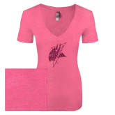 Next Level Ladies Vintage Pink Tri Blend V-Neck Tee-Viking Head Hot Pink Glitter