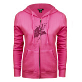 ENZA Ladies Fuchsia Fleece Full Zip Hoodie-Viking Head Hot Pink Glitter