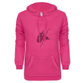 ENZA Ladies Hot Pink V Notch Raw Edge Fleece Hoodie-Viking Head Hot Pink Glitter