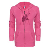 ENZA Ladies Hot Pink Light Weight Fleece Full Zip Hoodie-Viking Head Hot Pink Glitter
