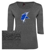 Ladies Charcoal Heather Tri Blend Lace 3/4 Sleeve Tee-Viking Head