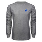 Grey Long Sleeve T Shirt-Viking Head
