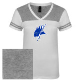 Ladies White/Heathered Nickel Juniors Varsity V Neck Tee-Viking Head